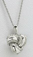 Designer .50ctw (H) SI1 Diamond Knot Pendant Sterling Silver Necklace 3.6g