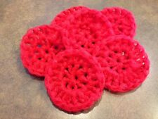 Scrubbies pot scrubber nylon set of 5  handmade in the USA crochet RED