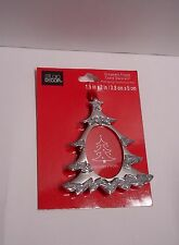 """New ORNAMENT PICTURE FRAME CHRISTMAS TREE SILVER GLITTERING Fit Photo1.5""""W x 2""""H"""