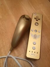 Gold zelda Wii Remote Wiimote and Club Nintendo Gold Nunchuck Nunchuk