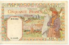 Billet de banque ALGERIE ALGERIA 50 Francs 29-11-1944 état voir scan 630