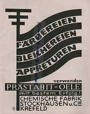Werbung: STOCKHAUSEN,1929, Chemische Fabrik Cie. Färbereien Bleichereien Appretu