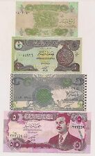 Four Central Bank of Iraq 1/4,1/2,1 & 5 Dinars Banknotes--Pristine Condition !!