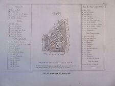 GRAVURE 1839 PARIS PLAN DU QUARTIER ST EUSTACHE