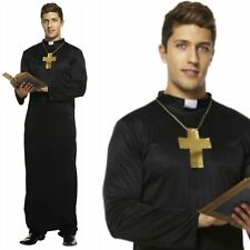 Mens Vicar Priest Clergyman Monk Church Fancy Dress Costume & Cross Necklace
