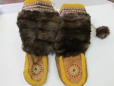 NATIVE AMERICAN BEADED MUKLUKS FUR,FLEECE LINED 11 INCHES LONG PRETTY COLOR SUN