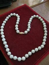 """Old 22"""" GREY GREEN JADEITE Silk Knotted 9mm Bead Necklace, 14K YELLOW GOLD CLASP"""