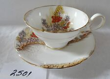 ROYAL GRAFTON English bone china  Cup & Saucer Orange Yellow flowers vintage