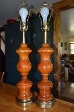 vintage set solid turned wood table lamps. heavy and rugged-70's 80's era