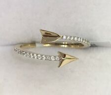 14k Solid Yellow Gold Cute Arrow Diamond 0.11CT. Ring. Original Price $1,300.