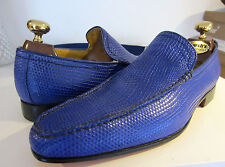 Haute Couture Hand Made Electric Blue leather Loafers shoes UK 8 EU 42 & Belt