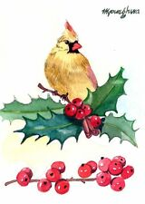 ACEO Limited Edition  - Holly cardinal, Bird art, Gift for bird lovers