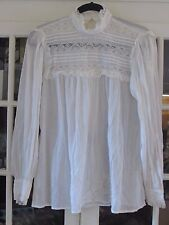HELENE SIDEL Vintage Creme to Ivory Lace Career 1970's Blouse 12 Medium