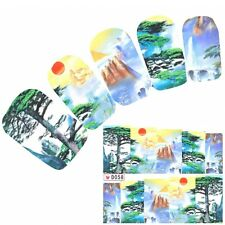 Tattoo Nail Art Aufkleber Berge Japan Landschaft Glitzer Nagel Sticker Neu!