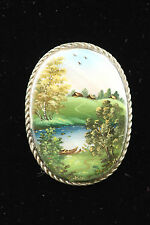 Vintage russian brooch handpainted mother of pearl House on the grassy hill 1003