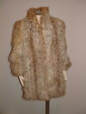 Vtg Jordache Faux Snow Leopard Fur Fluffy Cuddly Coat womens Sz 13/14 USA Minty