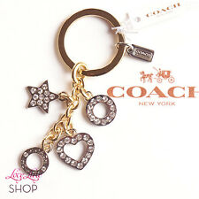 NWT COACH Open Heart Circle Star Multi Charm Pave Key Ring Chain FOB Gold Silver