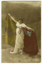 World War One Children Child PATRIOTIC BRITISH GIRL wwI ww1 photo postcard