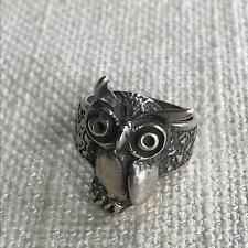 Impressive vintage SILVER 925 ring ~ wise old OWL ~ rare