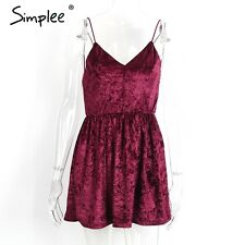 Simplee Sexy V Neck Strappy Velvet Backless Dress Party Evening Club Mini Dress