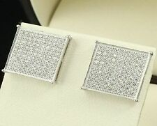 New hip hop bling fashion square white gold screw on back stud earrings