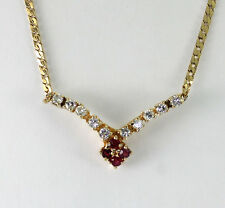 "Diamond ruby V necklace 14K yellow gold round brilliant .42CT S chain 18"" long!!"