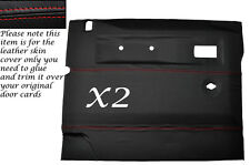 RED STITCH 2X FRONT DOOR CARDS LEATHER COVERS FITS LAND ROVER DEFENDER 90 110