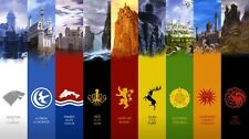 "Game of Thrones seven kingdoms map Fabric Art Cloth Poster 24x13""  Decor 50"