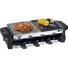 Edelstahl Raclette für 8 Personen mit Heißem Stein und Grillplatte