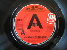 "CAPTAIN SENSIBLE Glad It's All Over / Damned On 45  7"" RARE UK PROMO DAMNED CAP6"