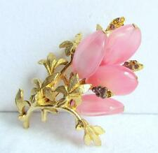 Fabulous Vintage Signed Schiaparelli Pink Stone Flower Leaves Pin Brooch