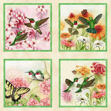 "23""x44"" PANEL  HUMMINGBIRDS  BUTTERFLIES ELIZABETH STUDIO COTTON QUILTING FABRIC"
