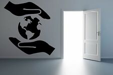 World Map Earth Planet Save Protect Hands Wall Vinyl Sticker Decal Decor F1713