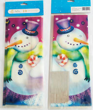 50 x CHRISTMAS SNOWMAN CELLOPHANE BAGS Candy Treat Party Gift Sweet Cello Bag
