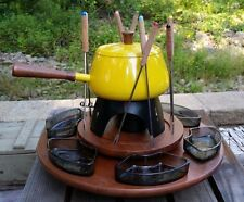 Retro Lazy Susan Fondue Set Bright Yellow Pot Forks Glass Dishes Chafing Stand