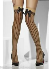 Saloon Girl Can Can Nude Black Stripes & Bows Burlesque Thigh Highs Fancy Dress