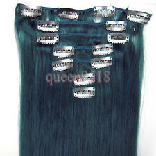 Clip In Real Remy Human Hair Extensions Full Head Ombre Straight Black Blonde
