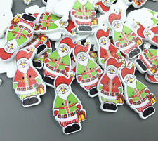 DIY 25X Santa Claus Buttons Wooden Sewing decoration crafts Scrapbooking 35mm