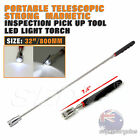 20-80cm Telescopic Magnetic Inspection Nuts Bolts Pick Up Tool LED Light Torch
