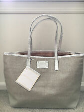 NWT Michael Kors Beige & Silver Canvas Weekender Tote Bag Purse Handbag