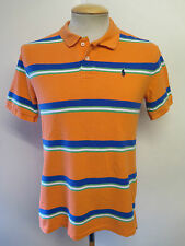 "Genuine Vintage Ralph Lauren men's Orange Hoop Polo Shirt 34-36"" S Euro 44-46"