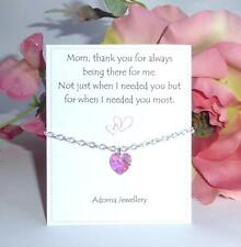 Gift for Mom Mum Swarovski Pink Heart Crystal element Silver Bracelet ~Thank you