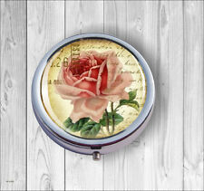 FLOWER VINTAGE VICTORIA PINK ROSE #1 PILL BOX -f3r5t