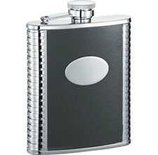 Visol Tux 6oz Black Leather Stainless Steel Liquor Hip Flask, FREE ENGRAVING