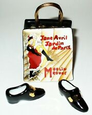 LIMOGES BOX - MOULIN ROUGE PURSE & SHOES - TOULOUSE-LAUTREC - PARIS, FRANCE - LE