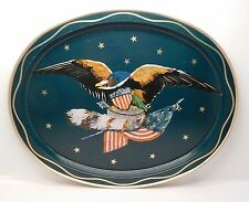 American Bald Eagle Shield Arrow American Flag Metal Serving Tray Platter USA