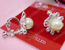 CLIP ON screw CREAM PEARL crystal RHINESTONE EARRINGS silver plated FLOWER