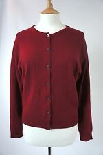 BRORA PURE CASHMERE CARDIGAN-BORDEAUX, CHEST 38'' M-L