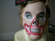 Horreur halloween hot lips lady zombie mousse de latex masque avec de longs cheveux blonds