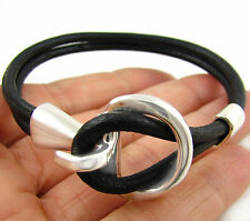 925 Sterling Silver Horse Tack Snaffle Horsebit Black Leather Bracelet